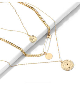 lcb0020 - Gold Multi Layer Necklace