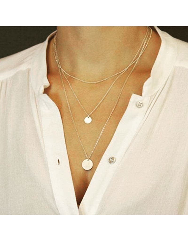 lcb0021 - Gold Multi Layer Necklace