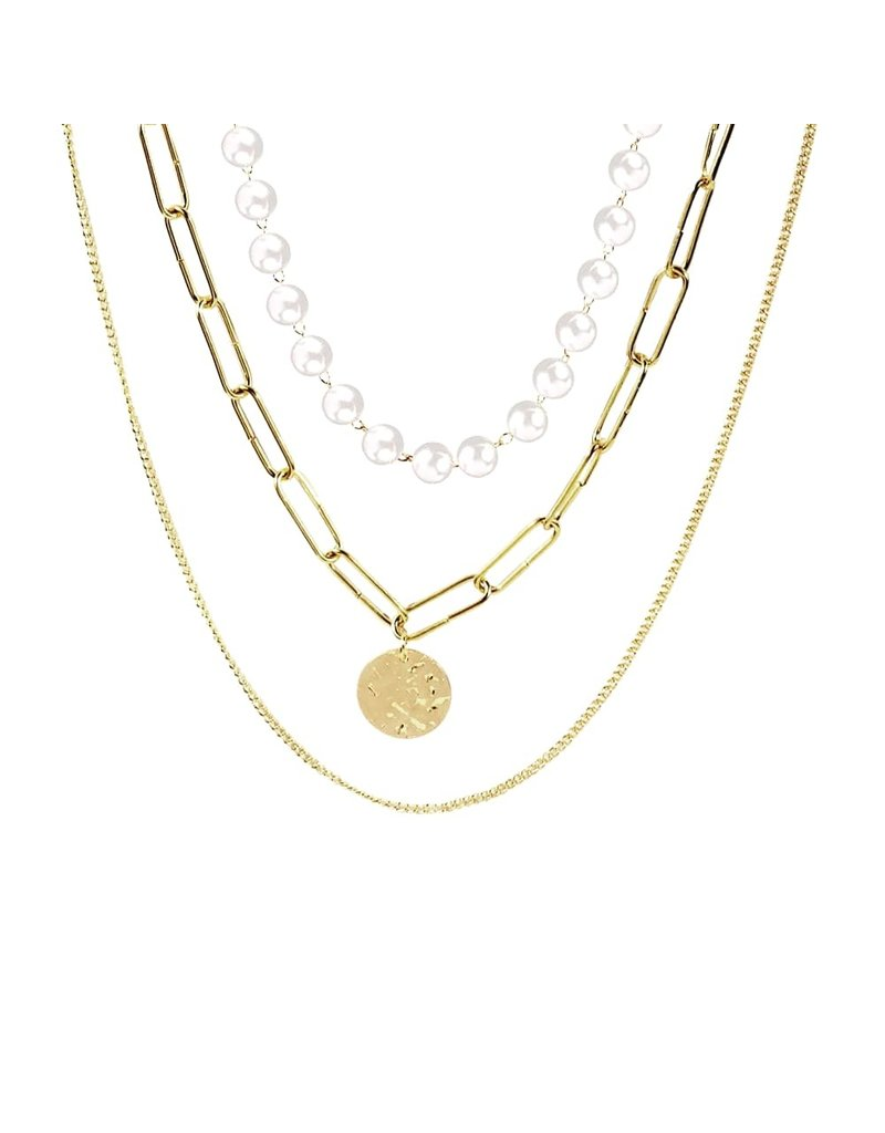 lcb0022 - Gold, Pearl Three Layer Necklace