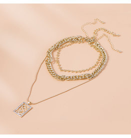 lcb0027 - Gold Multi Layer Necklace