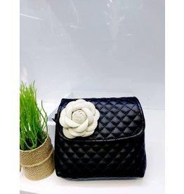 Black, Flower Handbag