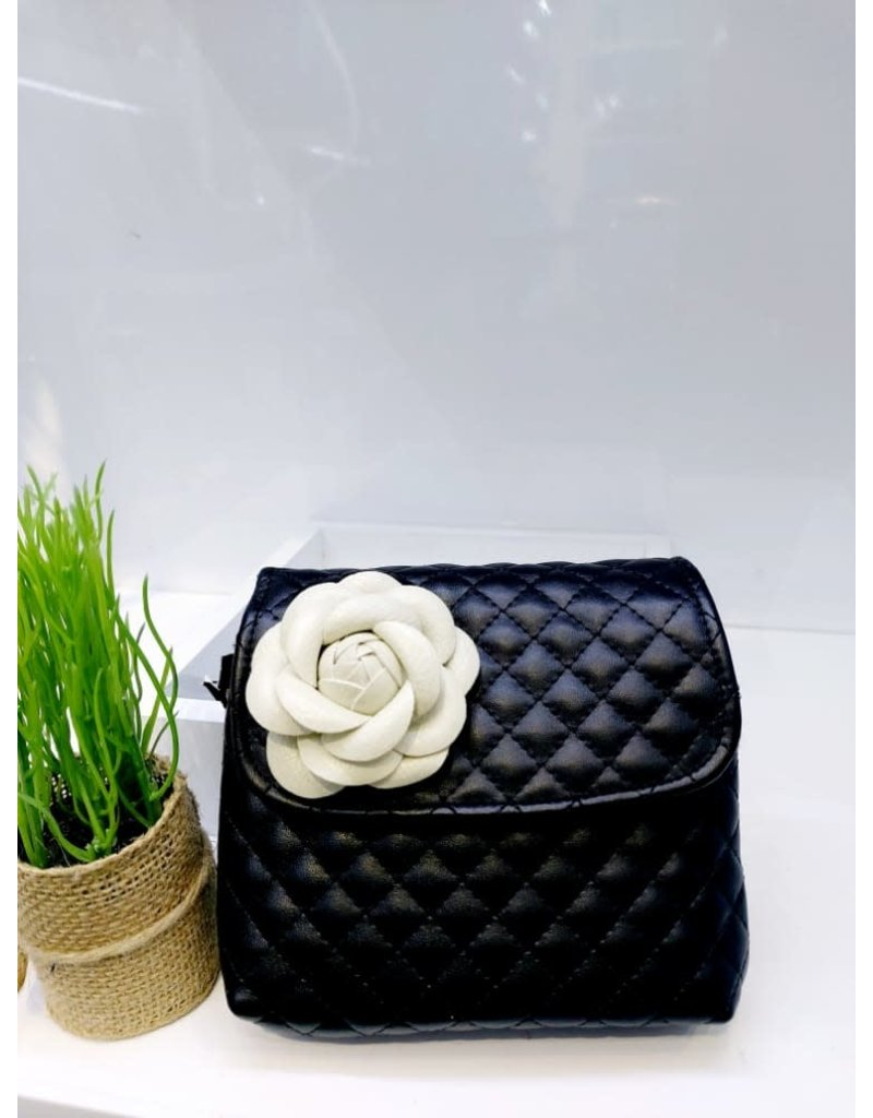 HBA0001 -  Black, Flower Handbag