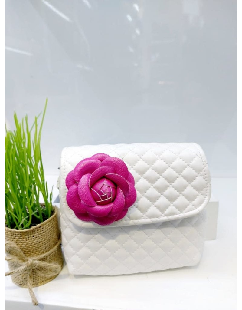 HBA0003 -  White, Flower Handbag
