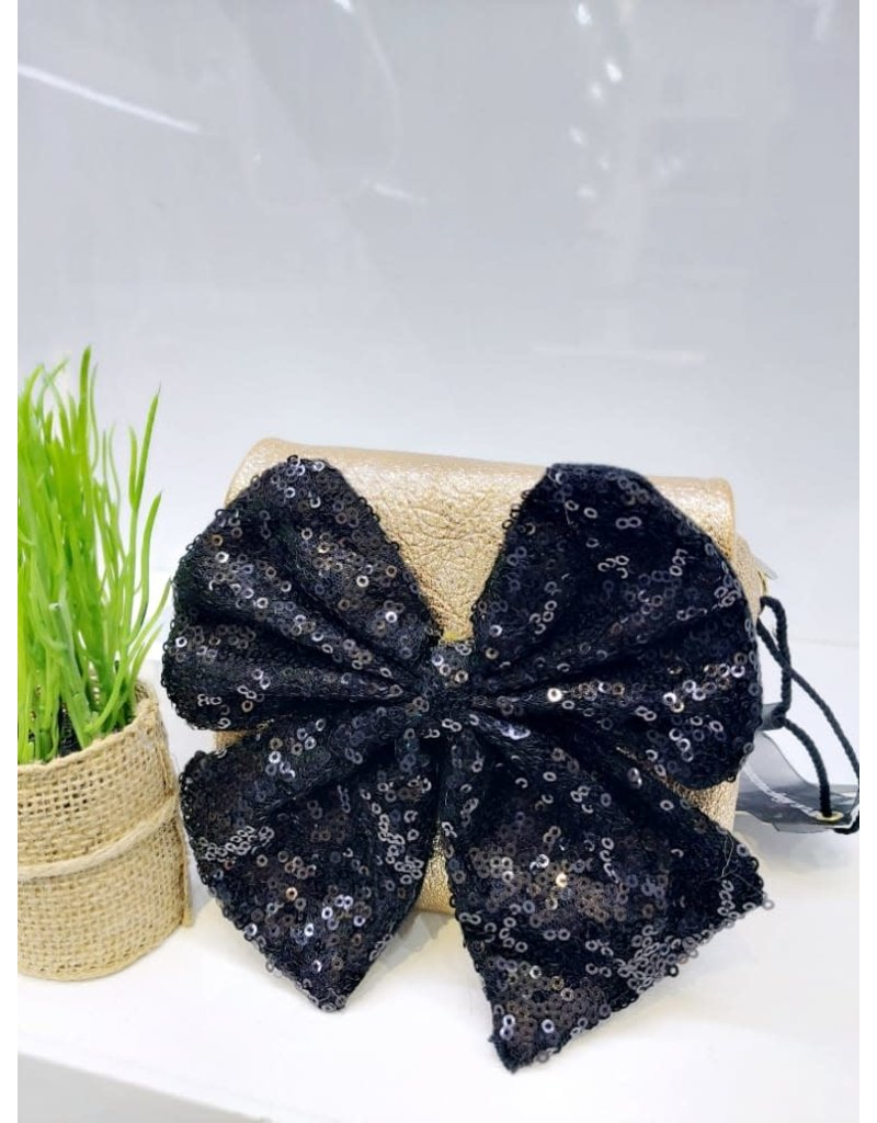 HBA0005 -  Gold, Black, Bow Mini Handbag