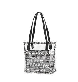 HBA0018 -  Black, White, Transparent Handbag