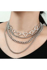 LCC0001 -  Silver, Multi Layered Necklace Multi Layer Necklace