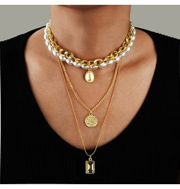 LCC0003 -  Gold, Layered Necklace Multi Layer Necklace