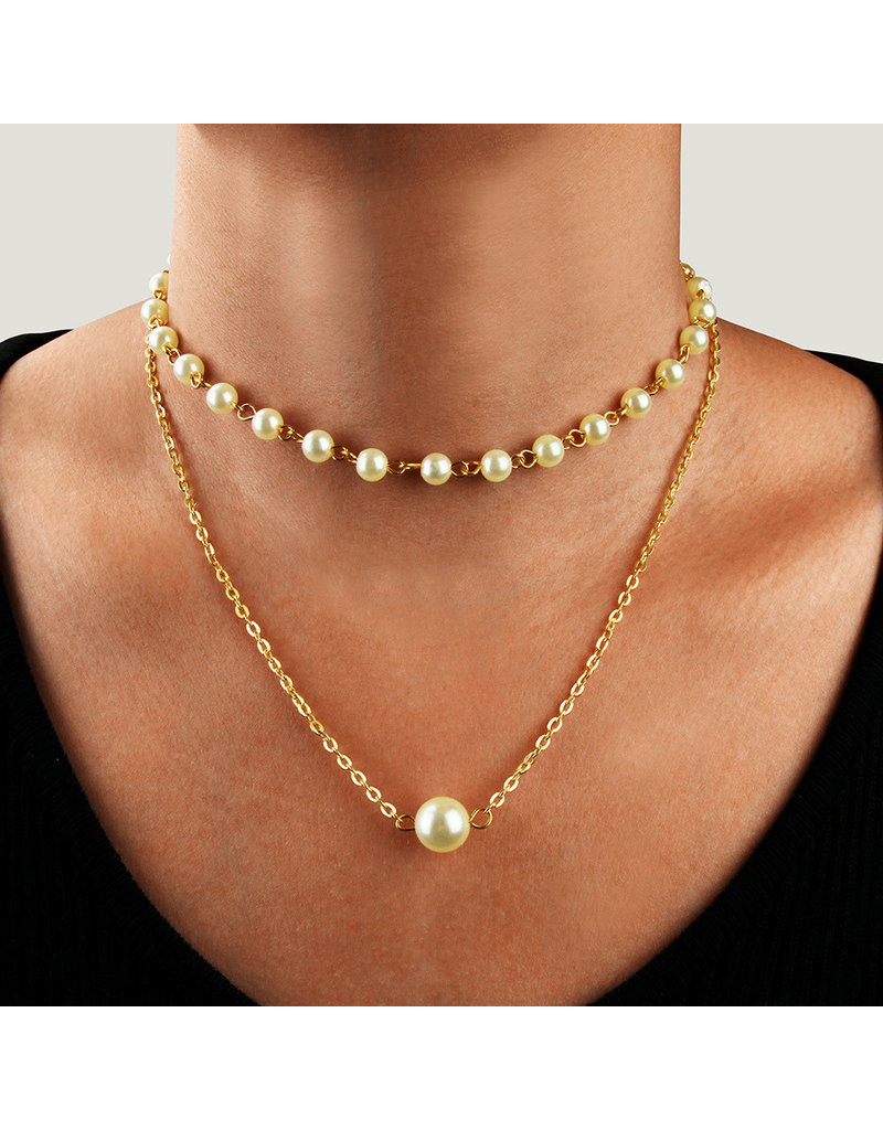 LCC0004 -  Gold, Pearl Multi Layer Necklace