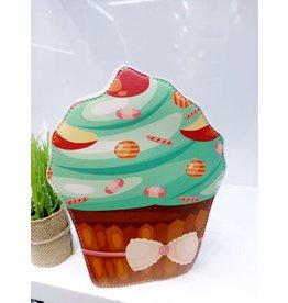 NCA0003 -  Brown, Green, Cupcake Novelty Clutch