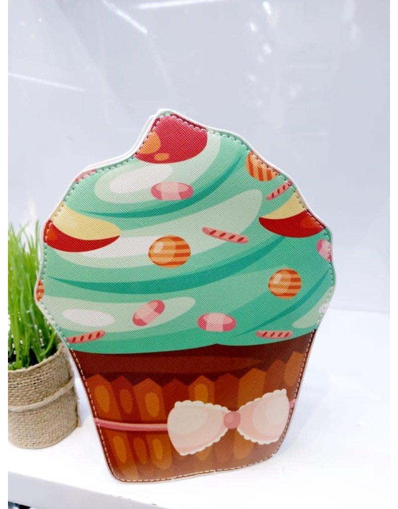 Brown, Green, Cupcake Novelty Clutch