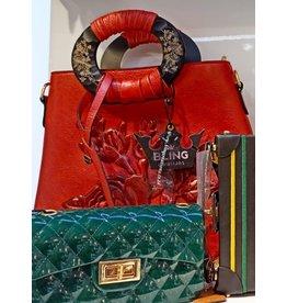 HBA0026 -  Red, Embroidered Flower Handbag
