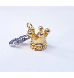 50311831 - Gold Crown Charm with Silver Clasp Charm