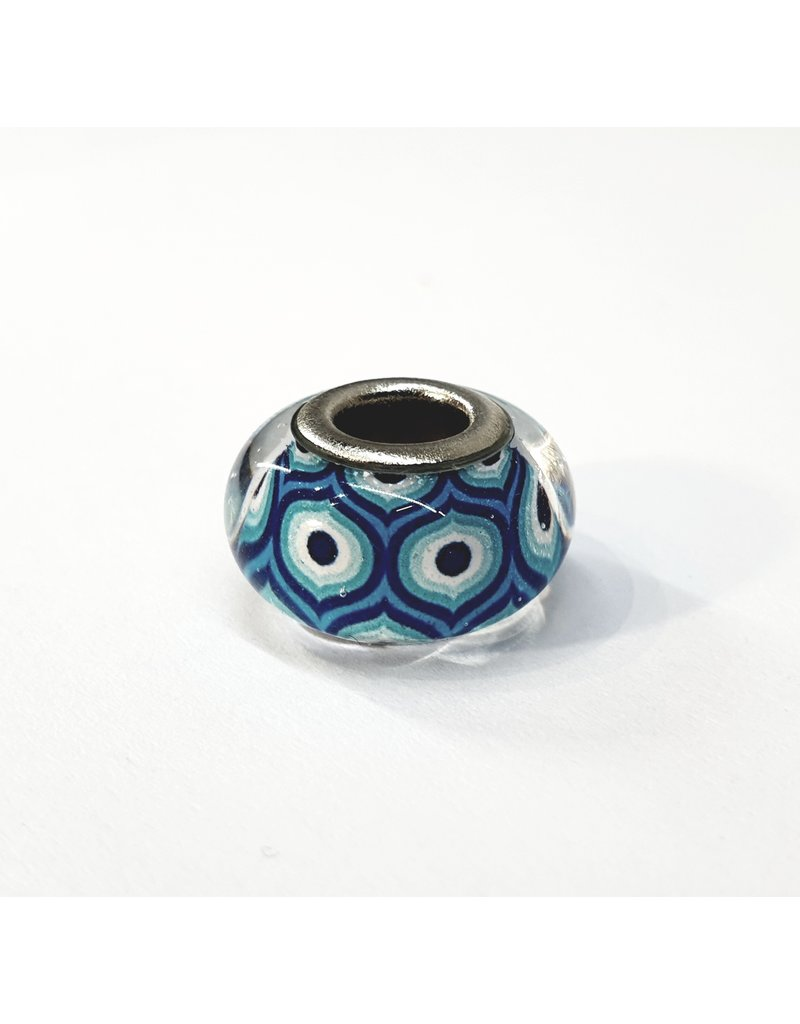 50313442 - Blue and White Pattern Ring Charm50313442
