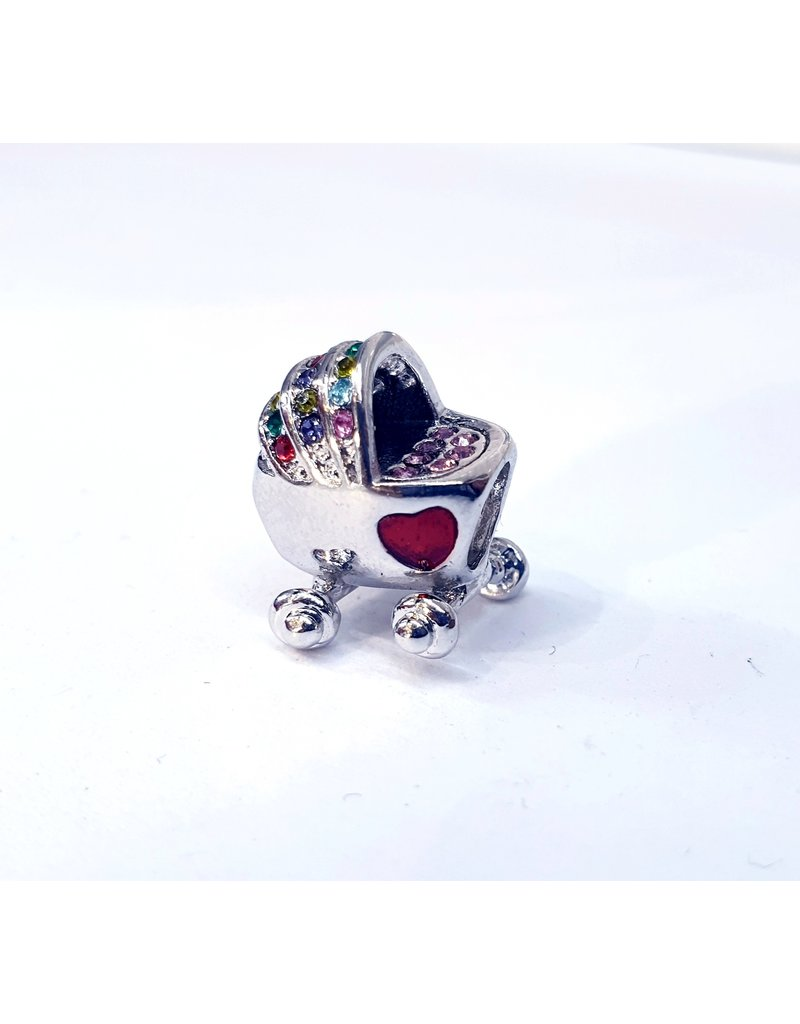 50313464 - Silver Pram with Multicolour Stones Charm