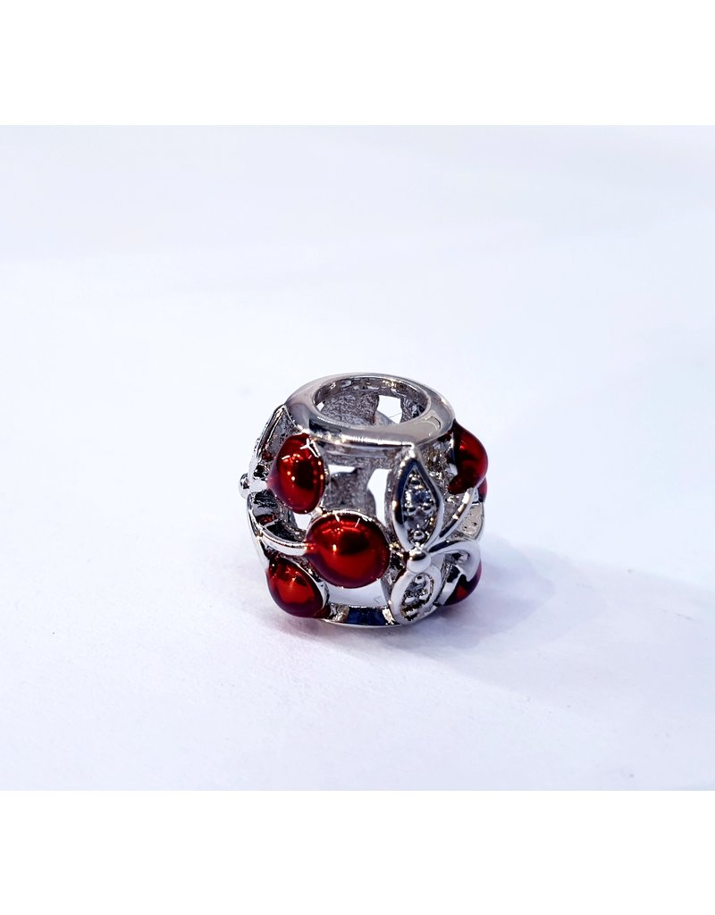 50313475 - Silver Round with Red Stones Charm