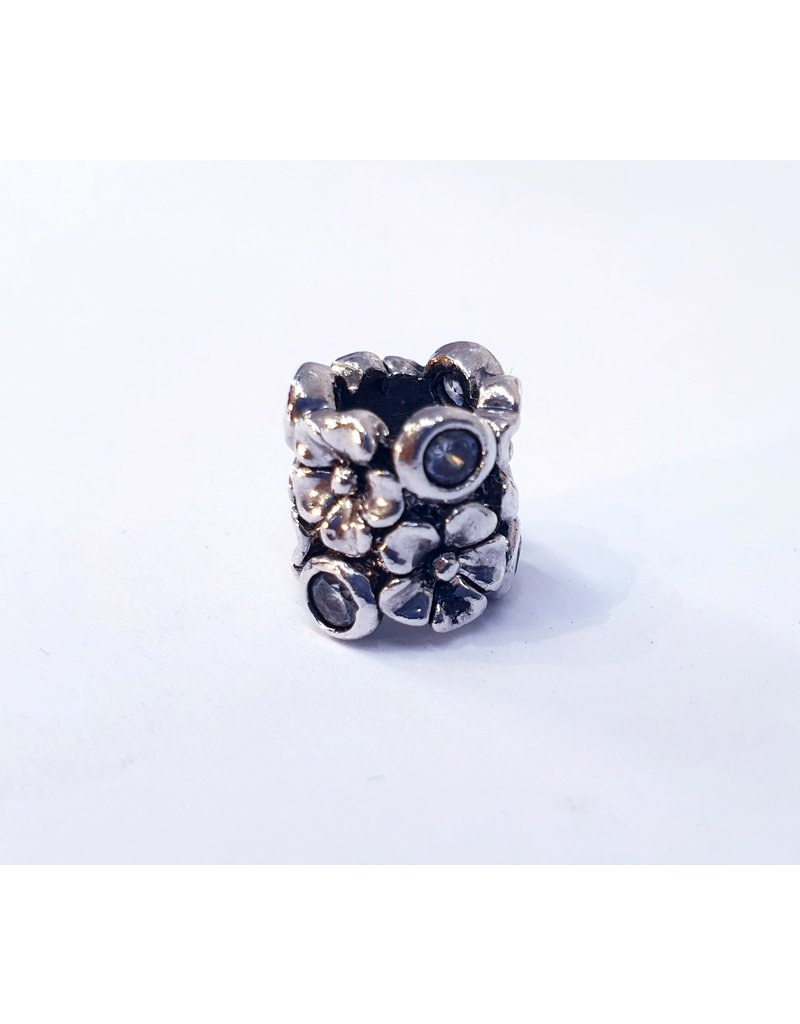 50313486 - Silver Flower with Stone Charm