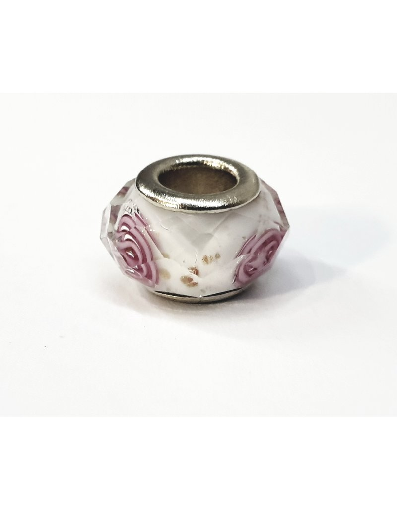 50313488 - White and Pink Flower Ring Charm