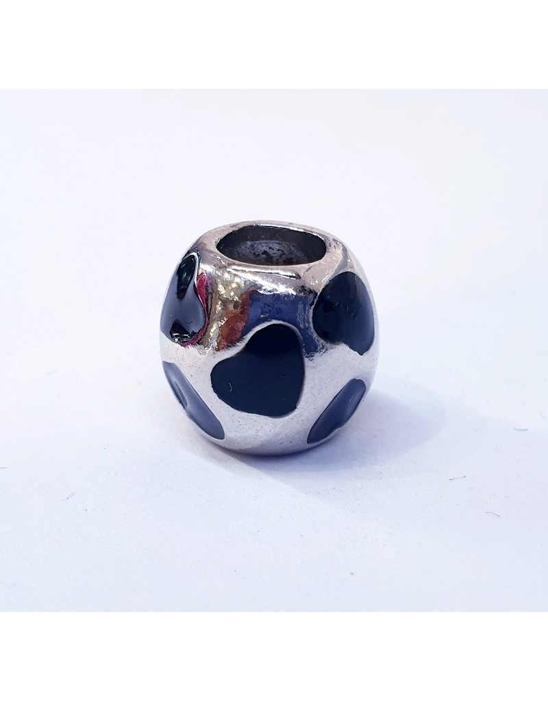 50313507 - Silver Ring with black hearts