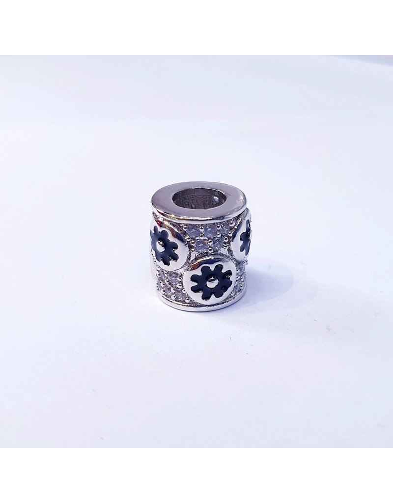 50311803 - Round Silver and Black Flower Charm