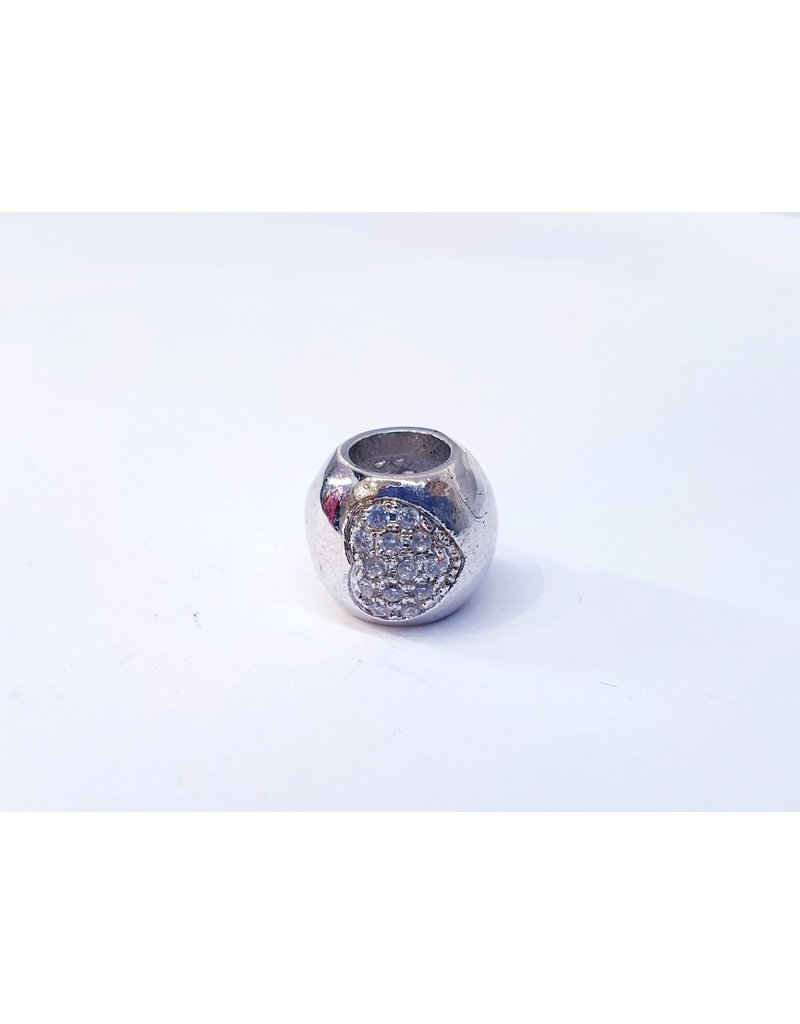 50311818 - Thick Ring with Single Silver Heart Charm