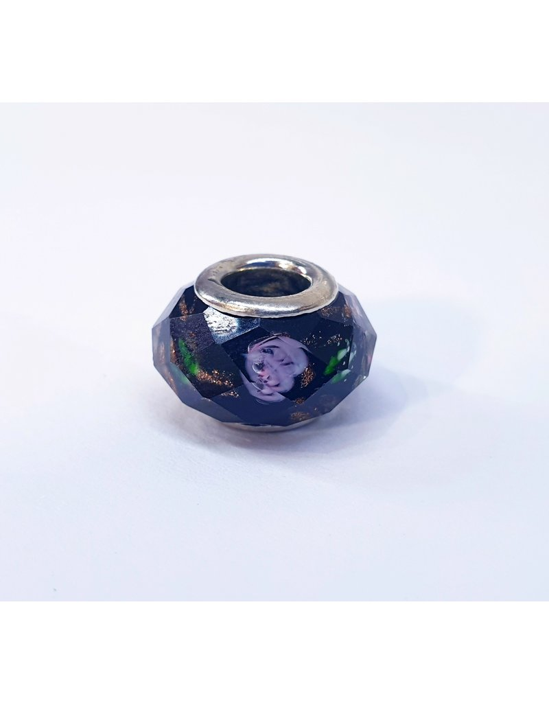 50313487 - Black , Green and Pink flower pattern Charm