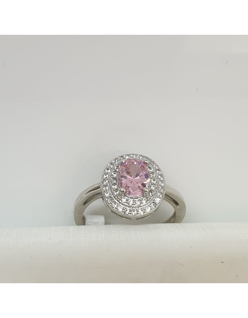 RGC180104 - Pink, Oval Stone, Silver Ring