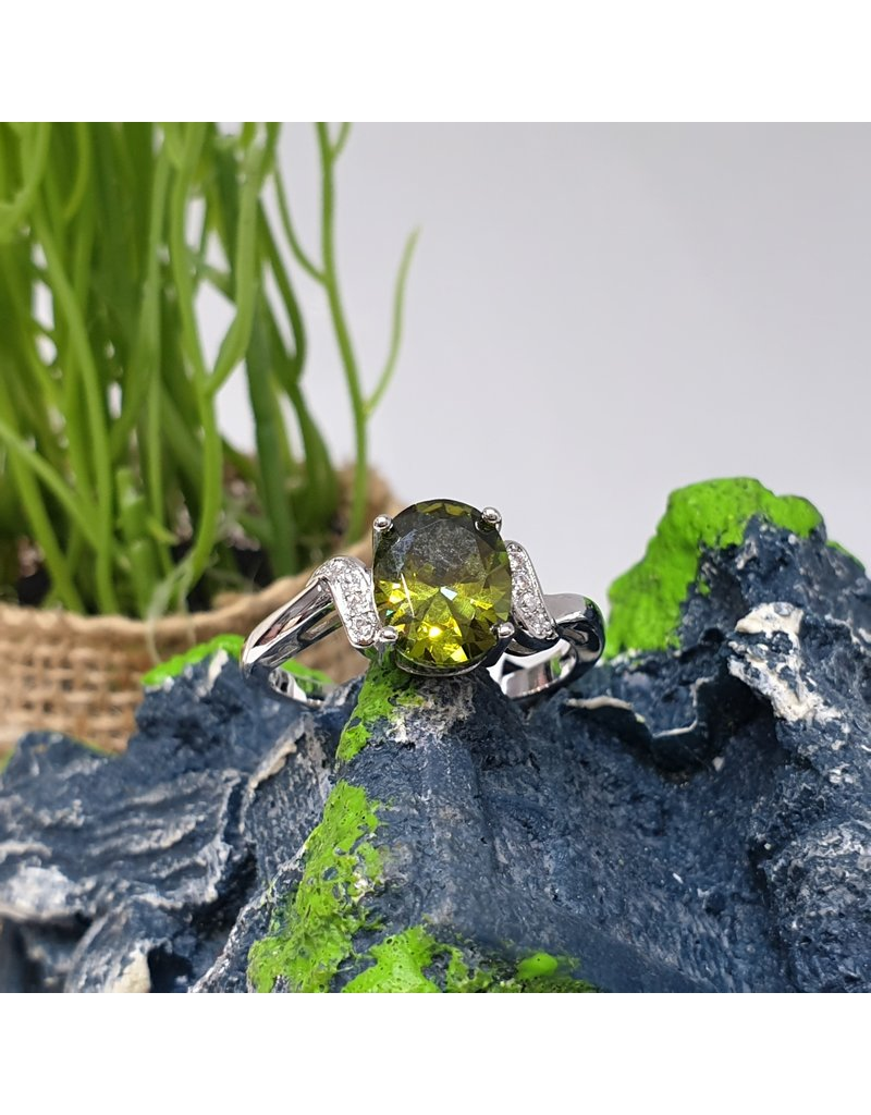 RGC180132 - Olive Green, Silver Ring