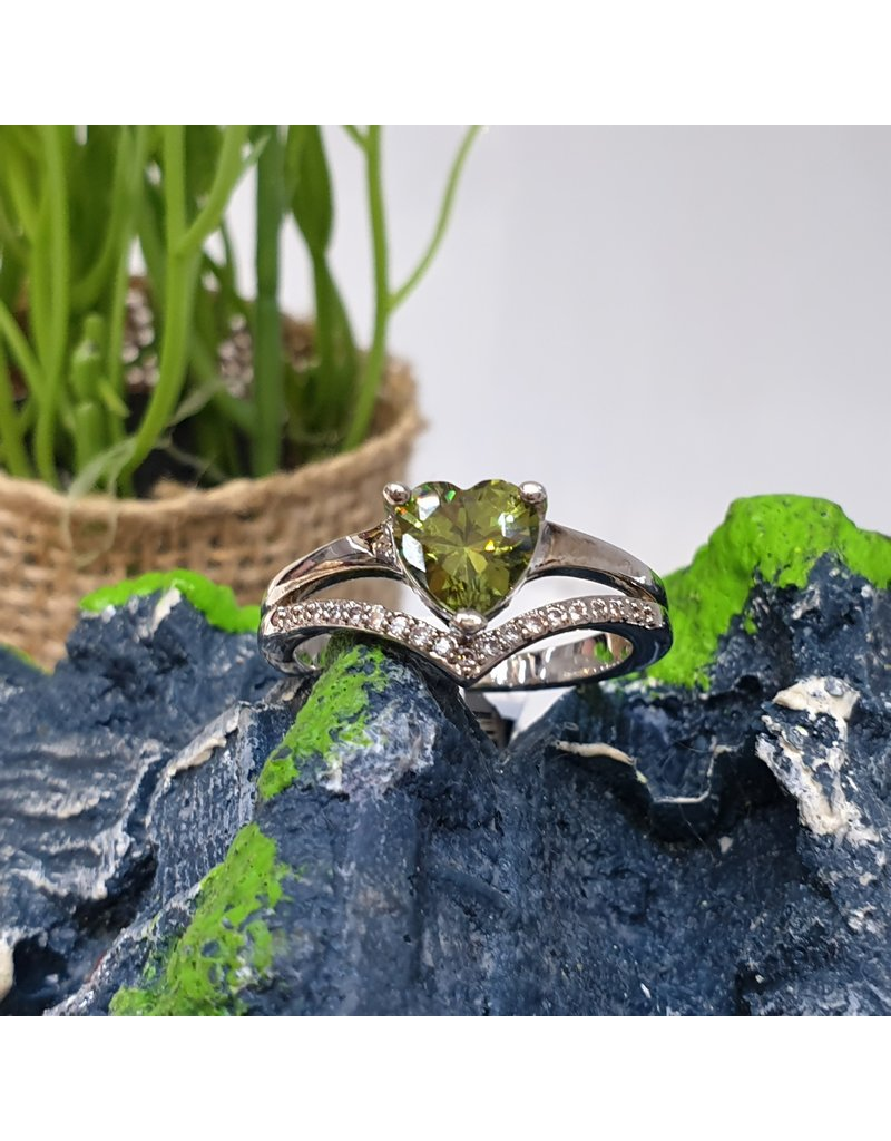 RGC180148 - Olive Green, Silver Ring