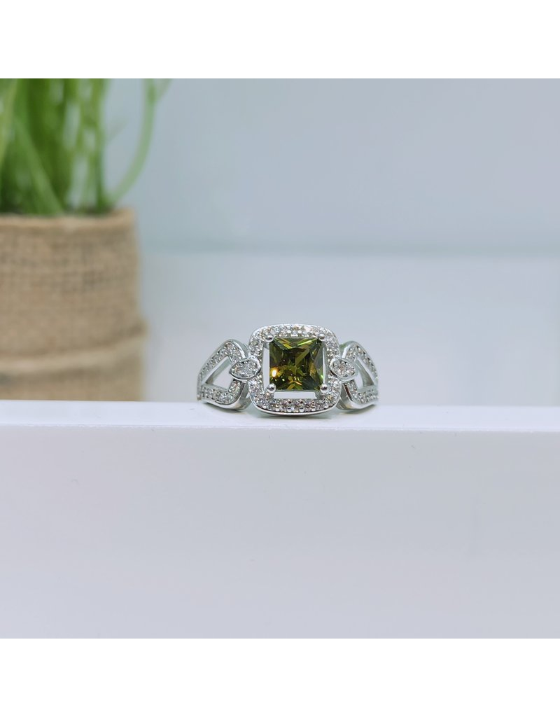 RGC180176 - Olive Green, Silver Ring