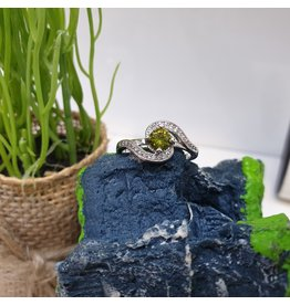 RGC180188 - Olive Green, Silver Ring