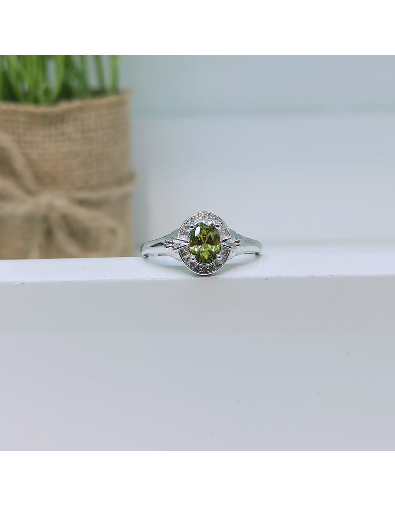 RGC190121 - Olive Green, Silver Ring