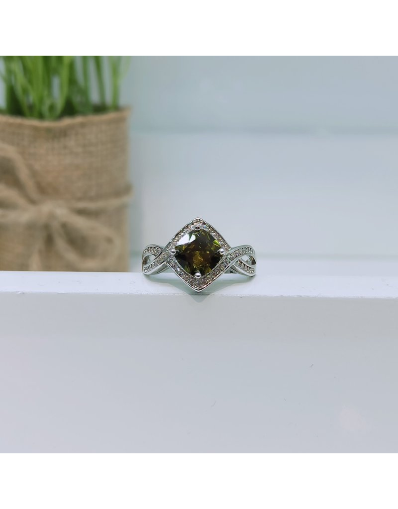 RGC190134 - Olive Green, Silver Ring