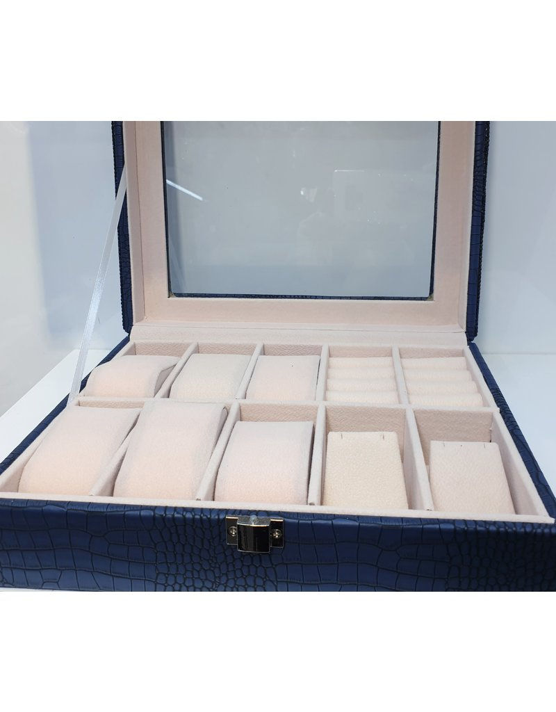 HRG0009 - Blue Square Jewellery Box With Watch Holders