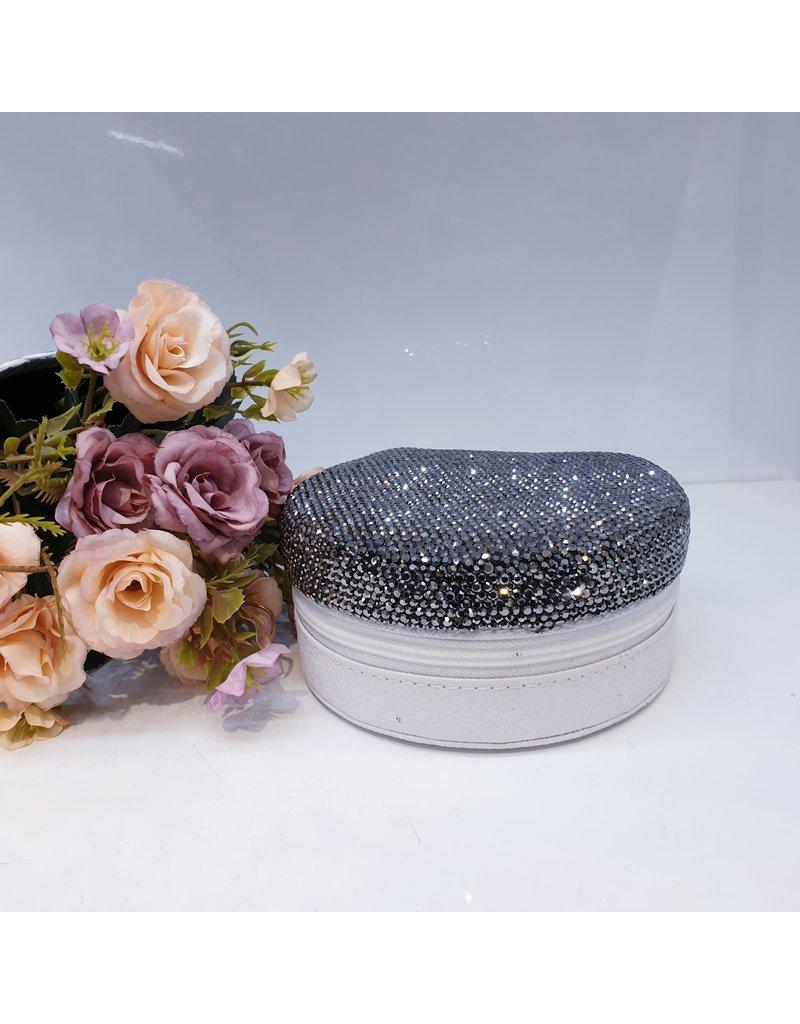 HRG0016 - Black, White Half Round Jewellery Box