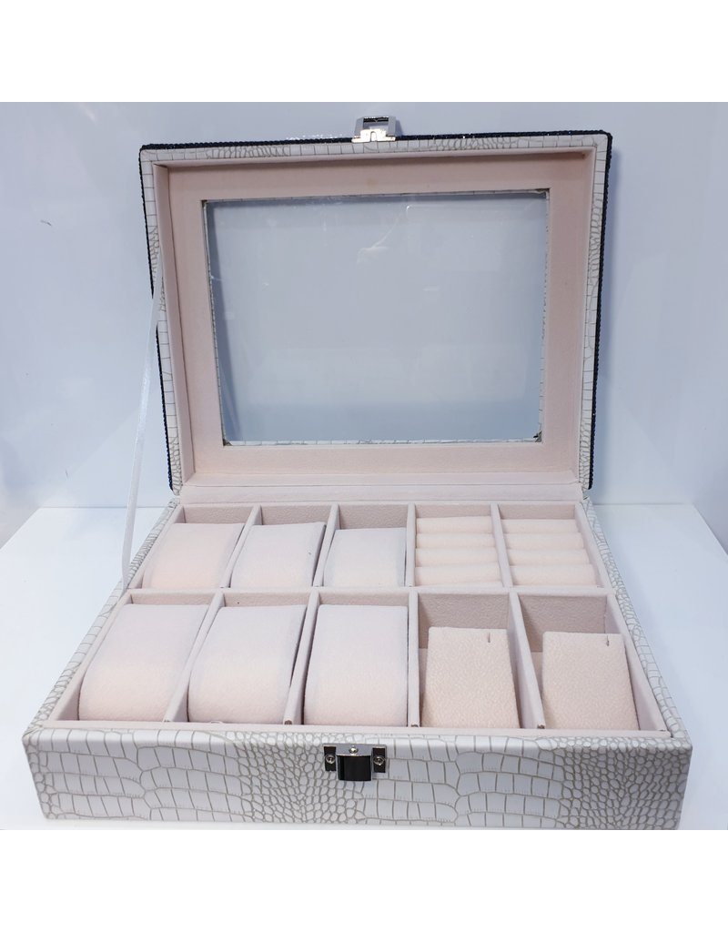 HRG0019 - Blue, White Square Jewellery Box With Watch Holders