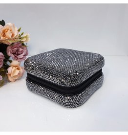HRG0143 - Black Square Full Stone Jewellery Box
