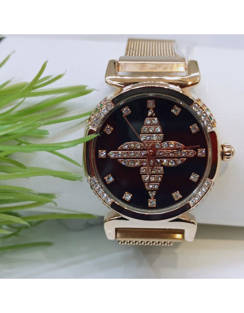 WTB0020- Rose Gold Black Watch