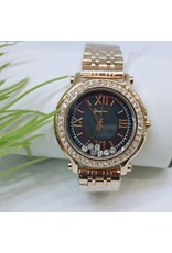 WTB0024- Rose Gold Black, Suspended Crystals Watch