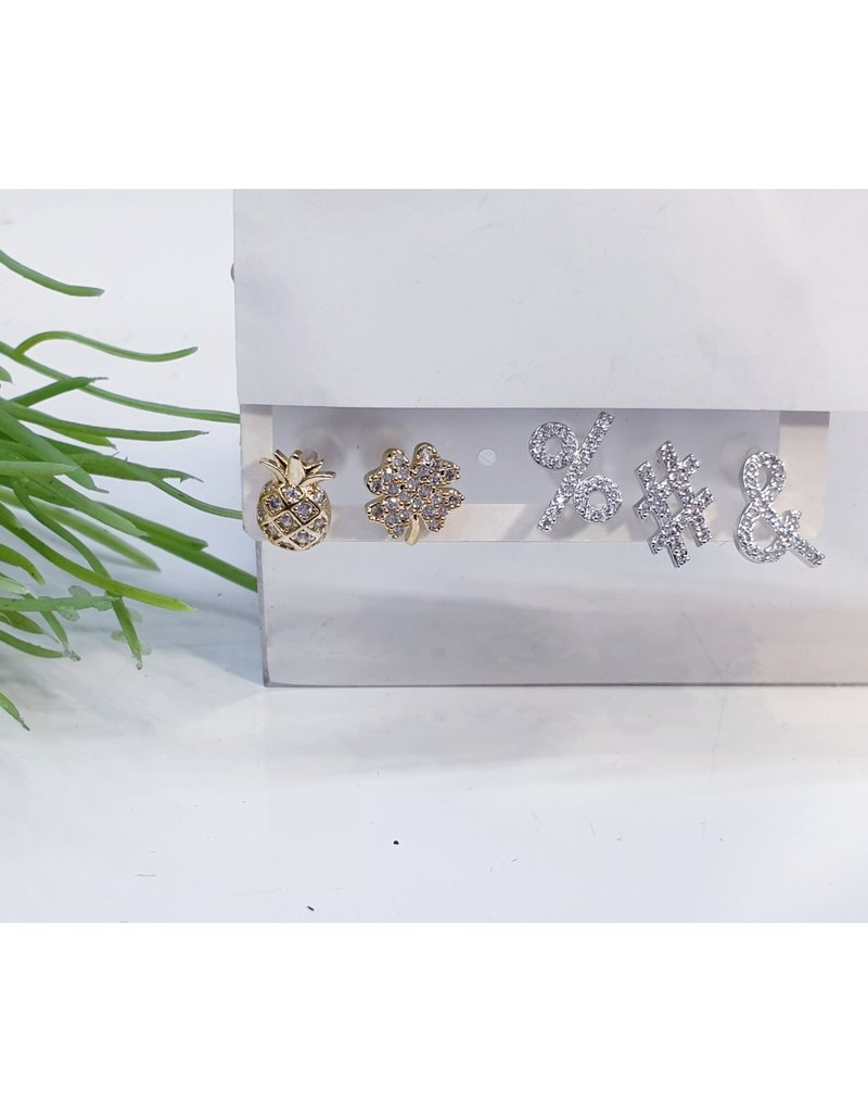 EMA0017 - Gold, Silver Flower, Pineapple, And, Hash,  Multi-Pack Earring