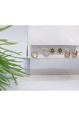 EMA0020 - Gold Boxing, Snowflake, Diamante, Emerald Green,  Multi-Pack Earring