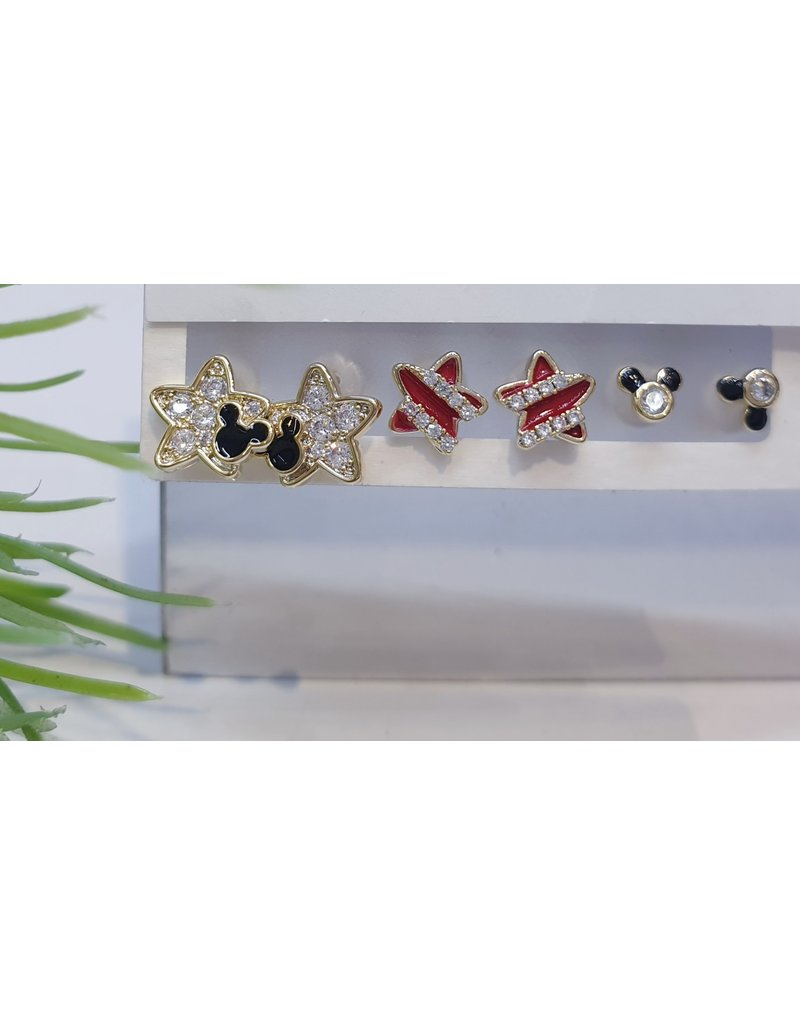 EMA0018 - Gold Star, Mickey Mouse,  Multi-Pack Earring