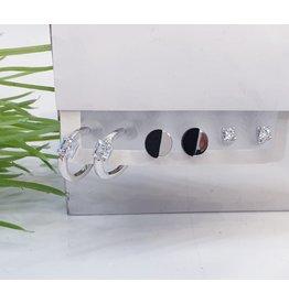 EMA0022 - Silver Diamante, Hoop,  Multi-Pack Earring
