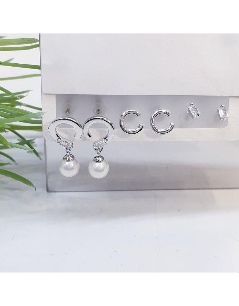EMA0019 - Silver Baguette, Hoop, Pearl,  Multi-Pack Earring