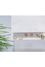 EMA0023 - Gold Boxing, Snowflake, Diamante, Red,  Multi-Pack Earring