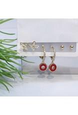 EMA0026 - Gold Flower, Ball Stud, Hoop, Red,  Multi-Pack Earring