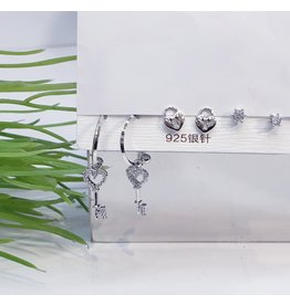 EMA0024 - Silver Drop Heart, Diamante, Heart Lock,  Multi-Pack Earring