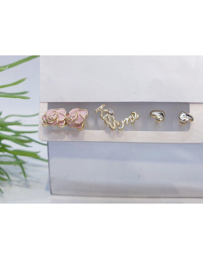 EMA0027 - Gold Kiss Me, Flower, Diamante, Pink,  Multi-Pack Earring