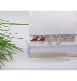 EMA0028 - Gold Bunny, Ball Stud, Heart Wings,  Multi-Pack Earring