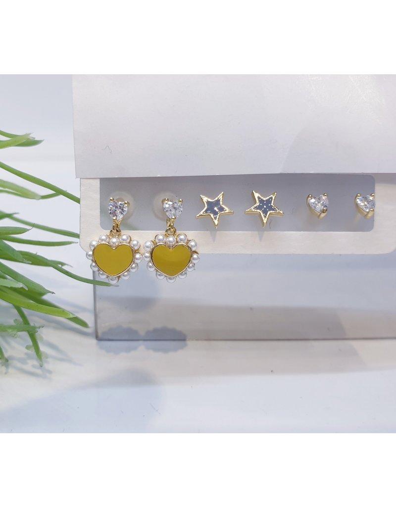 EMA0032 - Gold Heart, Star, Heart Diamante,  Multi-Pack Earring