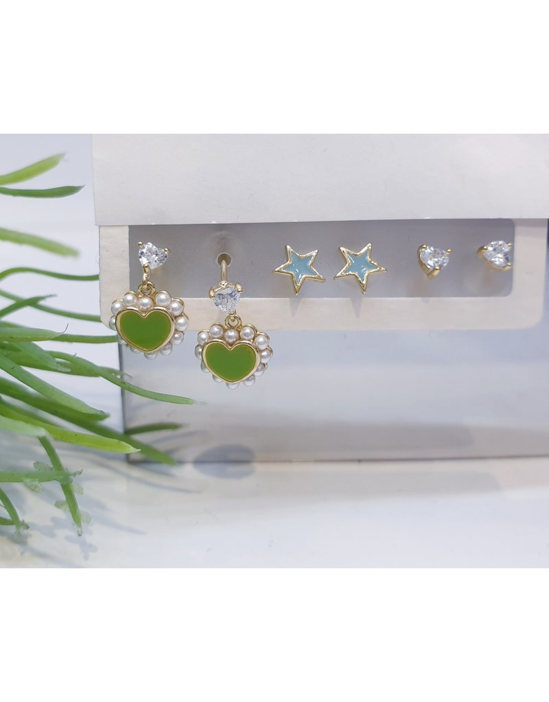 EMA0033 - Gold Green Heart, Blue Star, Heart Diamante,  Multi-Pack Earring